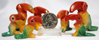 Image of mexican onyx toucan family figures, 7pc dyed red, yellow and green