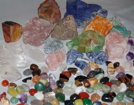 Tumbled and rough gemstones and rocks